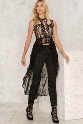 Nasty Gal Out Of The Shadows Lace Maxi Top Black