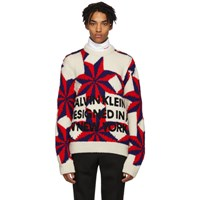 Calvin Klein 205W39nyc White And Red Logo Crewneck Sweater
