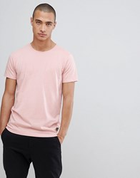 Lindbergh Crew Neck Stretch T Shirt In Pink Grey