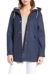 French Connection Women's Side Zip Hem Hooded Slicker Utility Blue