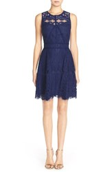 Adelyn Rae Women's Illusion Yoke Lace Fit And Flare Dress Navy