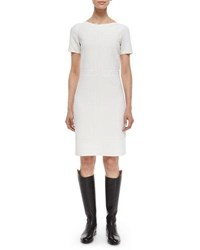 Agnona Short Sleeve Bateau Neck Shift Dress Ivory