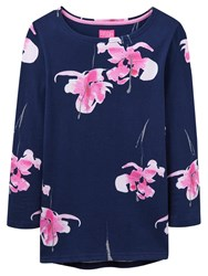 Joules Harbour 3 4 Sleeve Printed Jersey Top Navy Orchid