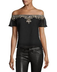Romeo And Juliet Couture Embellished Off The Shoulder Blouse Black