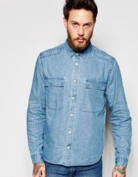 Asos Military Denim Shirt In Shacket Styling Blue