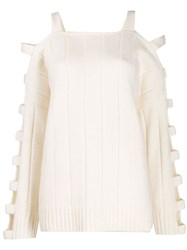 Mcq By Alexander Mcqueen Cutout Sleeve Sweater White