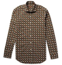 Tod's Slim Fit Geometric Print Cotton Shirt Army Green