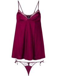 La Perla 'Charisma' Babydoll And Thong Set Pink Purple