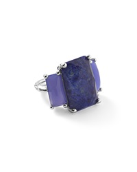 Ippolita 925 Rock Candy 3 Stone Rectangle Ring In Lapis Agate Silver