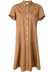 Aspesi Flared Shirt Dress Brown