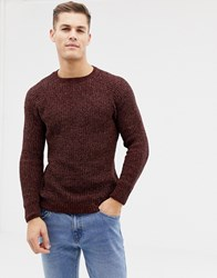 New Look Chenille Knit Jumper In Burgundy Light Burgundy Red