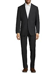 Calvin Klein Wool Blend Structured Suit Charcoal