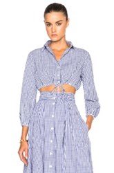 Lisa Marie Fernandez Bubble Top In Blue Checkered And Plaid