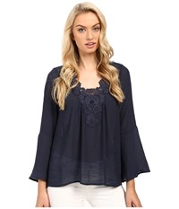 Christin Michaels Crystal Peasant Top Navy Women's Clothing