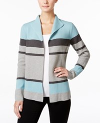 Charter Club Petite Striped Cardigan Only At Macy's Dusted Aqua Combo