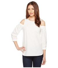 Calvin Klein Cold Shoulder 3 4 Sleeve Top Soft White Women's Clothing