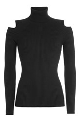 Theory Wool Turtleneck Pullover With Cut Out Shoulders Black