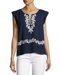 Joie Mandel Embroidered Cap Sleeve Top Blue