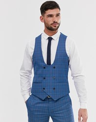 Penguin Orginal Slim Fit Blue Prince Of Wales Check Suit Waistcoat