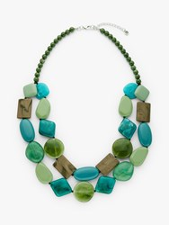 One Button Double Row Layered Necklace Sea Green Multi