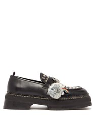Eytys Phoenix Studded Charm Leather Loafers Black