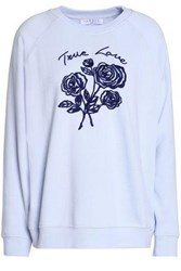 Sandro Embroidered French Cotton Blend Terry Sweatshirt Sky Blue