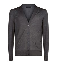 Alexander Mcqueen Distressed Cardigan Male Grey