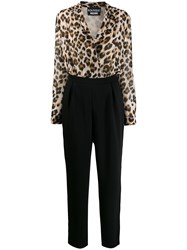 Boutique Moschino Leopard Top Jumpsuit Black