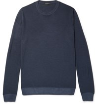 Ermenegildo Zegna Wool And Silk Blend Sweater Navy
