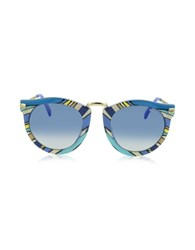 Emilio Pucci Ep25 Fantasy Acetate Frame Women's Sunglasses Light Blue Gradient Blue