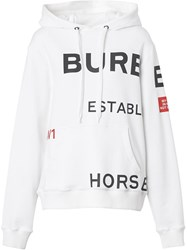 Burberry Horseferry Print Cotton Oversized Hoodie White