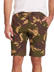 Barbour Cowen Camouflage Cotton Shorts Olive Multi
