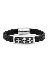Steeltime Cross And Skull Leather Bracelet Black