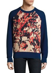 Salvatore Ferragamo Textured Handstitched Sweater Royal Blue
