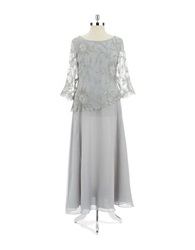 J Kara Plus Sequin Mock Top Gown Silver Multi