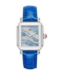 Michele Deco 18 Sapphire And Diamond Watch With Blue Alligator Strap Blue Silver