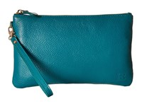 Mighty Purse Cow Leather Charging Wristlet Teal Blue Handbags