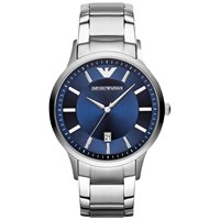 Emporio Armani Ar2477 Men's Stainless Steel Bracelet Strap Watch Silver Blue