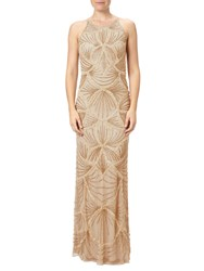 Adrianna Papell Petite Halterneck Fully Beaded Gown Gold