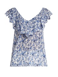 Rebecca Taylor Aimee Floral Print Off The Shoulder Cotton Top Blue White