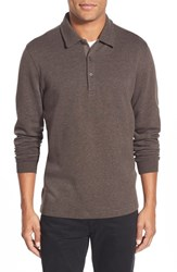 Men's Bugatchi Long Sleeve Knit Polo Chocolate