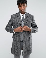 Devils Advocate Black And White Wool Rich Check Coat Black