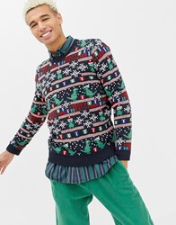 Only And Sons Christmas Jumper With Novelty Fairisle Dark Navy