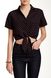 American Apparel Printed Tie Front Blouse Red