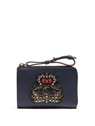 Christian Louboutin Tinos Crest Embellished Leather Wallet Navy