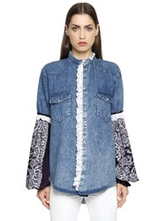 Forte Couture Cotton Denim Jacket W Bandana Sleeves