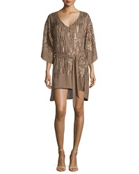 Halston Embellished Cocktail Dress W Belt Bronze