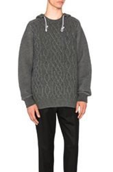 Sacai Cable Knit Wool Hoodie In Gray