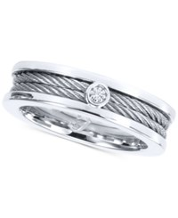 Charriol Diamond Accent Ring In Stainless Steel Silver