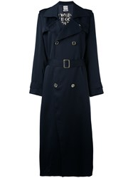 Each X Other Long Poetry Printed Trench Coat Women Acetate Viscose Xs Blue